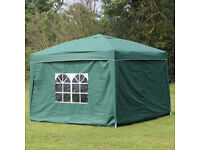 Large 3x3M Pop Up Gazebo With Sides Brand New In Bag, Green