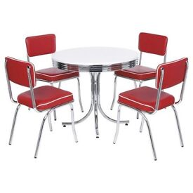 Rydell 4 Seat Round Dining Set with Chairs, Red.