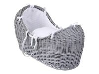 Full wicker moses basket and white rocking stand