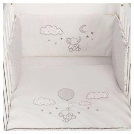 cot bumper set bedding Baby boy girl used cream unisex