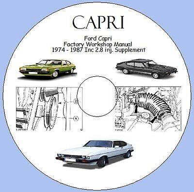 Ford Capri  Factory Workshop Manual  1974 - 1987 Inc 2.8 inj. Supplement