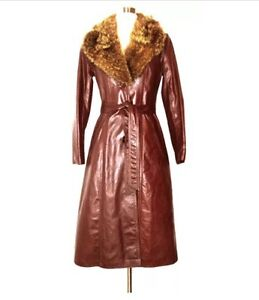 vintage hippie leather coat with real fur collar