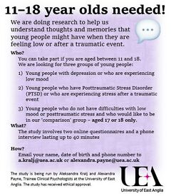 Volunteer 11-18 year olds with depression or PTSD for participation in research study