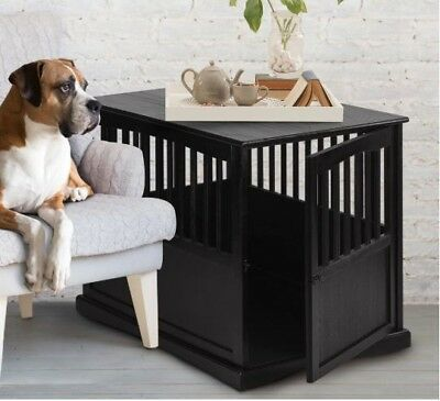 Dog Crate End Table Solid Wood Pet Kennel Cage Indoors Stylish Safe Black Large