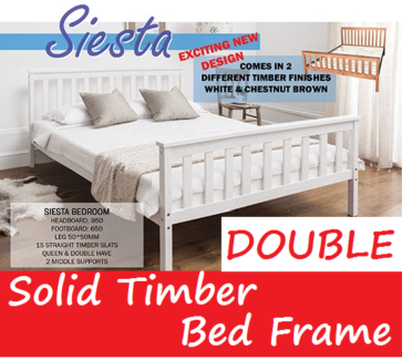 Brand New DOUBLE Bed Size White Wooden Bed Frame FREE DELIVERY