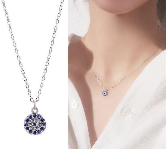 Jewellery - Devil's Eye Pendant 925 Sterling Silver Chain Necklace Women Jewellery Love Gift