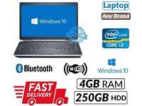 Windows 10 Laptop Intel Core i3 4GB ram 250GB hdd wifi battery charger dvd