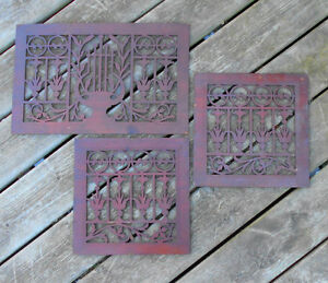 Antique Wooden Grills from Radio Phonograph Lyre design