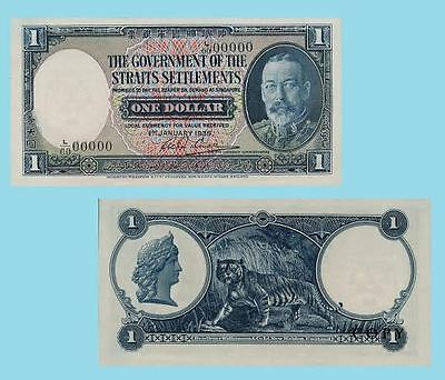STRAITS SETTLEMENTS 5$ 1916 /& 10$ 1935 BANKNOTES !NOT REAL! !COPY