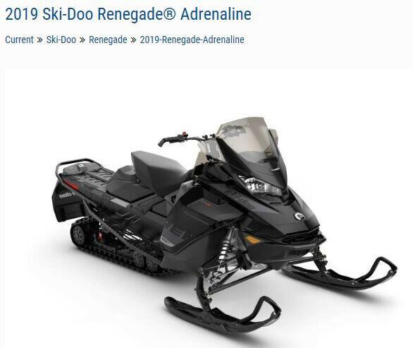 2019 Ski Doo Renegade Adrenaline 600 E-Tec Black