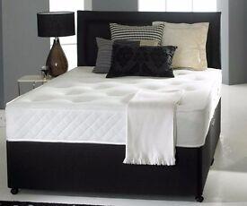 "❤❤❤Black, White Or Cream❤❤❤NEW Double / Small Double Divan Bed w 10"" Ambassador Orthopaedic Mattress"
