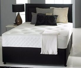 """**AMAZING OFFER** BRAND NEW Double Divan Bed with 9"""" Dual-Sided Deep Quilt Semi Orthopaedic Mattress"""