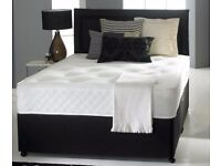 white orthopaedic mattress set -- brand new single double or king size divan bed base + headboard