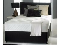 BRAND NEW DOUBLE BLACK DIVAN BED WITH 9 INCH DEEP MATTRESS AND HEADBOARD SINGLE AND KING AVAILABLE