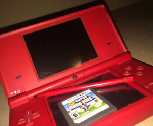 CHERRY RED NINTENDO DSI + SUPER MARIO game