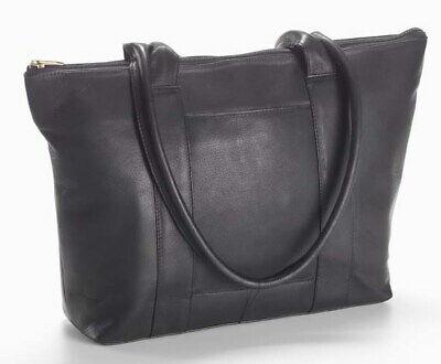 Clava Leather-Vachetta Zip Top Shopper Tote