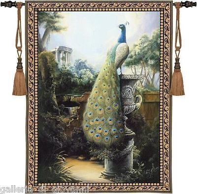 "REGAL PEACOCK  Wall Tapestry  32""Long  Urn Estate Garden  Bird"