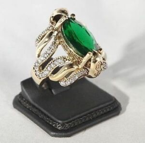 TURKISH HANDMADE EMERALD TOPAZ STERLING SILVER 925K RING