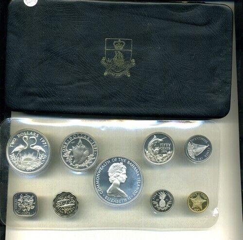 1971 BAHAMAS 9 COIN SILVER PROOF SET