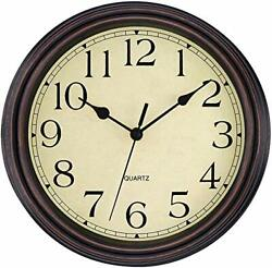 Foxtop 12 inch Silent Non-ticking Wall Clock Battery Operated Vintage Style ...