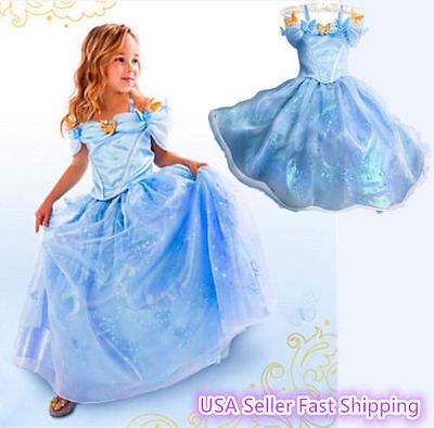 Disney Cinderella Costumes (Cinderella Disney inspired Dress Princess costume FREE SHIP Child Toddler)