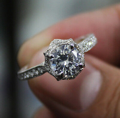 1.10 Ct. Natural Round Cut Floral Pave Diamond Engagement Ring - GIA Certified