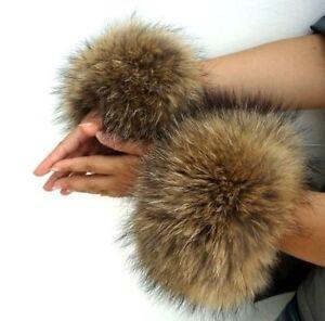 HOT fur cuffs Genuine raccoon fur hand wrist warmer natural brown one pair gift