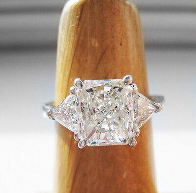 3.30 Ct 3-Stone Radiant Cut Engagement Ring J, VVS2 GIA Certified 14K White Gold