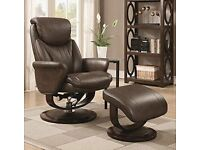 Weekend Bargain! Harrison Recliner Chair & Footstool/Ottoman in Leather RRP £399