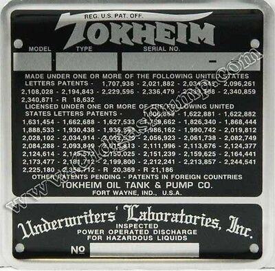 TOKHEIM 39 & 300 GAS PUMP ID TAG PLATE ID-133 FREE S&H