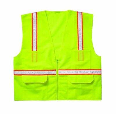 CLC Custom Leathercraft HI-VIZ SV14X-Large Surveyor's Safety Vest X-Large Lime