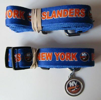 NEW NY YORK ISLANDERS PET SET DOG COLLAR LEASH ID TAG ALL SIZES LICENSED Island Dog Collar