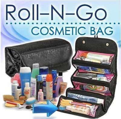 Roll-N-Go Cosmetic Bag Roll Up Travel Pouch Smart Toiletry Makeup Bag
