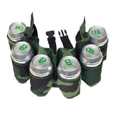 Beer Belt drinking belt can holder holds a six pack of beers camouflage camo NEW