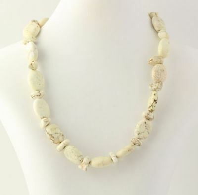 - New Chunky Beaded Necklace - Marbled Creamy Jasper Stone Beads Lobster Clasp