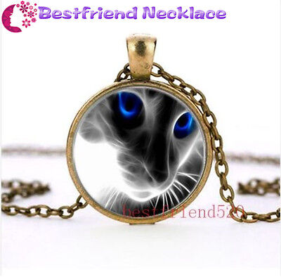 New White Cat and Blue Eye Glass Bronze necklace for women men Jewelry