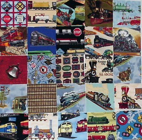 Railroad fabric ebay for Fabric with trains pattern