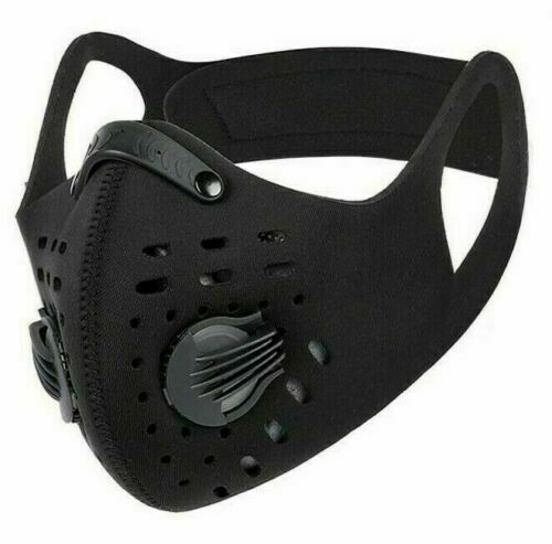 Usa Cycling Sport Face Mask With Active Carbon Filter Breathing Valves Washable
