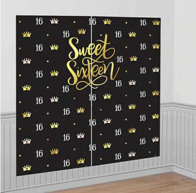 SWEET 16 elegant Scene Setter HAPPY BIRTHDAY party wall backdrop teen sixteen