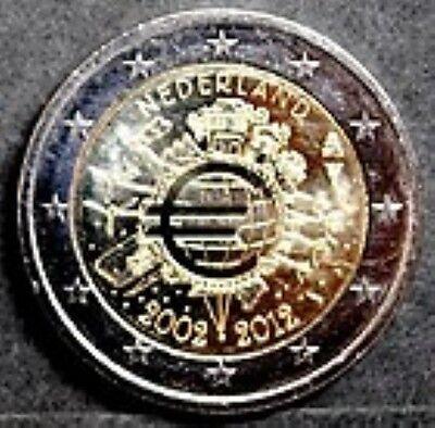 Nederland  2012  2 euro commemo 10 jaar Euro      UNC uit de rol !!!