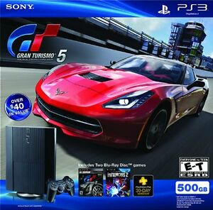 Sony PS3 500 GB Gran Turismo 5 & InFAMOUS 2 Bundle New in Box