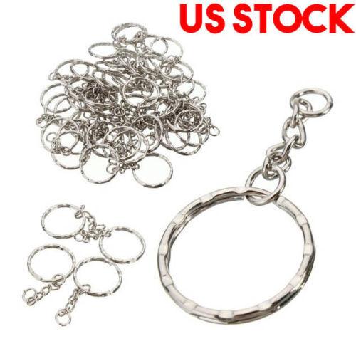 Wholesal 50PCS Keyring Blanks Silver Tone Key Chains Findings Split Rings 4 Link