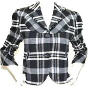 Womens Plaid Wool Blazer