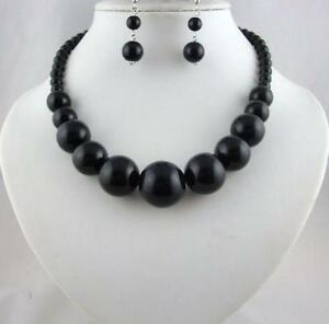 Black bead necklace necklaces pendants ebay large black bead necklace aloadofball Images