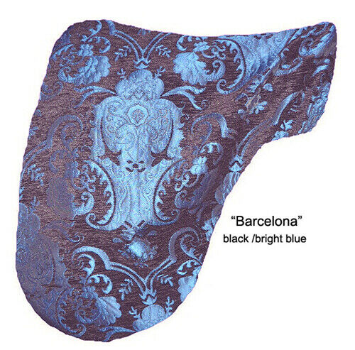 """BARCELONA"" BLACK BLUE CHENILLE JACQUARD  DRESSAGE SADDLE COVER  baroque"
