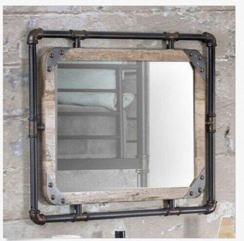 Rustic Wall Mirror Industrial Wood Farmhouse Bathroom Metal