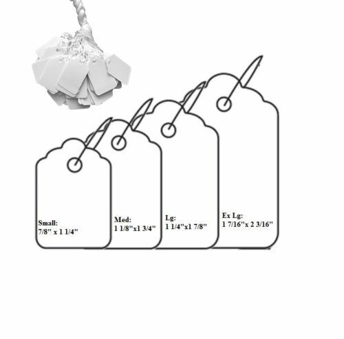 1000Pc Blank White Merchandise Price Tags w/ String Jewelry Retail Strung