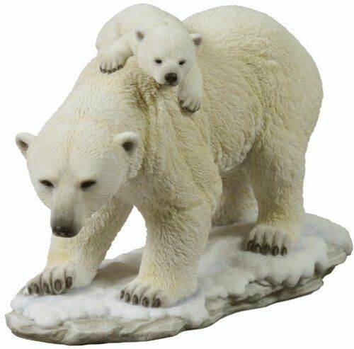 "11"" Polar Bear and Cubs Statue Wild Animal Decor Sculpture Figure White Snow"