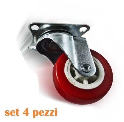 Set 4 Ruota Gomma Ricambio Rotella Per Carrello Mobili Staffa Girevole Rossa dfh