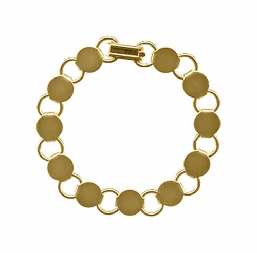 5 GOLD Plated BRACELET Blanks Forms ~ 11 Round Disc pads for Beads ~ 7 inch Long